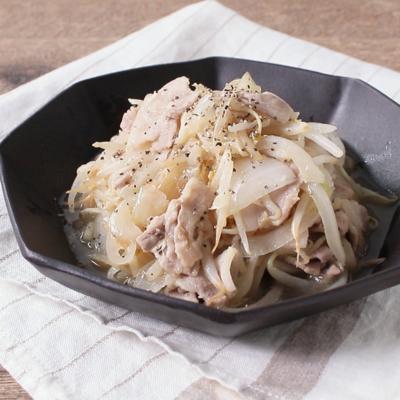 豚バラ肉ともやしのレモンガーリック炒め