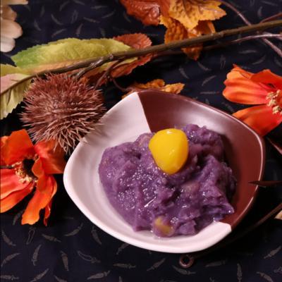きれいな満月!紫芋で栗きんとん