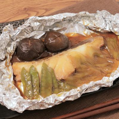 バター醤油で しいたけと鱈のホイル焼き