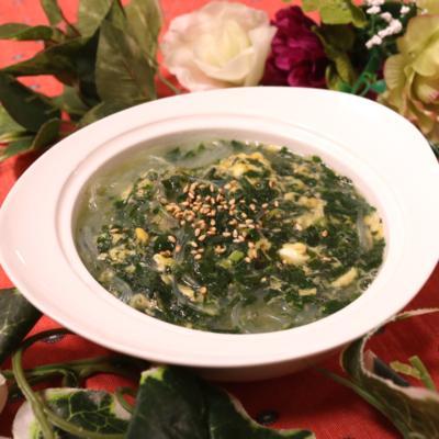 モロヘイヤでネバトロ〜な春雨スープ