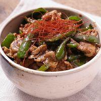 豚肉とピーマンのピリ辛花椒炒め丼