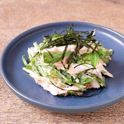 鶏肉と水菜の明太ごまサラダ