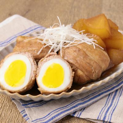 ゆで卵の肉巻き煮込み