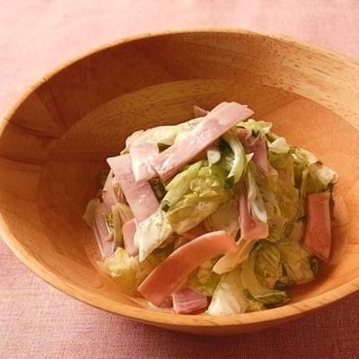 レタスとハムのコールスロー風サラダ