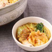 山盛り白菜のチーズワンタン鍋