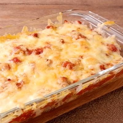 豚ひき肉とトマト缶でチーズドリア