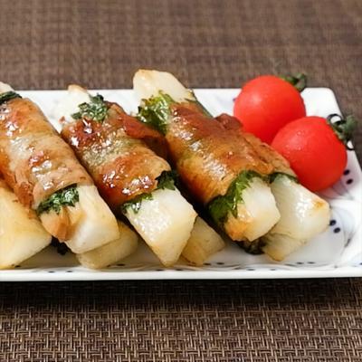 長芋とメンマの豚肉巻き