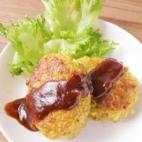 鶏ひき肉でチーズカレー風味のハンバーグ