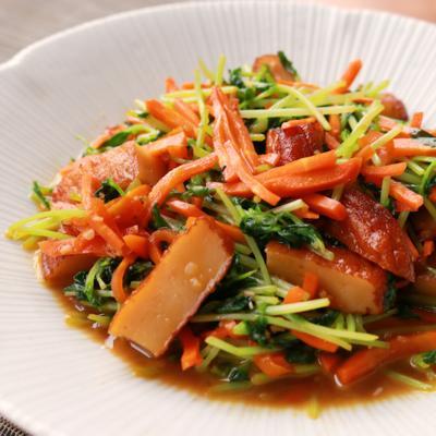 簡単節約副菜 さつま揚げと豆苗の炒め物
