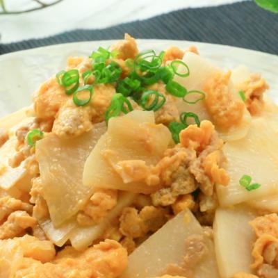 鶏ひき肉と大根の卵炒め