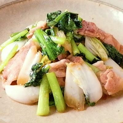 白菜と小松菜の生姜みそ炒め煮