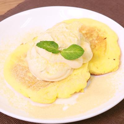 ふわっふわ!幸せスフレパンケーキ〜きな粉クリーム添え〜