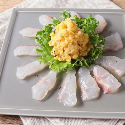 白身魚とたっぷりレンズ豆のカルパッチョ