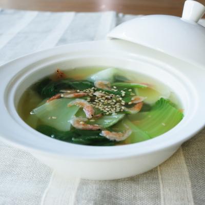 チンゲン菜と桜えびのスープ