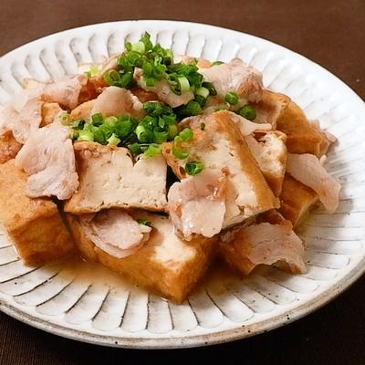 めんつゆで簡単 厚揚げと豚バラの梅煮