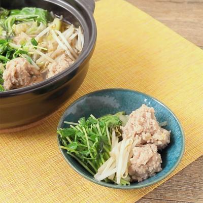 豆苗とたっぷり葉野菜の肉団子鍋