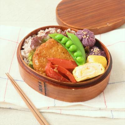 カラフルでかわいい豆腐ハンバーグ弁当の詰め方