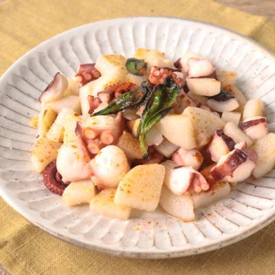 長芋とタコのガーリックソテー