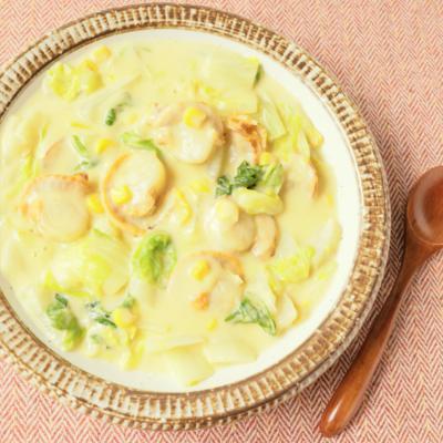 白菜とホタテのコーンクリーム煮
