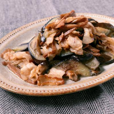 ナスとメンマの豚バラ肉炒め