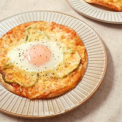 トルティーヤで簡単ビスマルク風ピザ