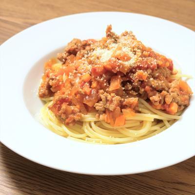 レンジボロネーゼでお手軽スパゲティ