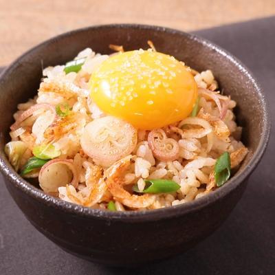 ミョウガと桜エビの混ぜご飯の卵黄のせ