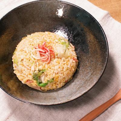 生姜たっぷりカニカマレタス炒飯