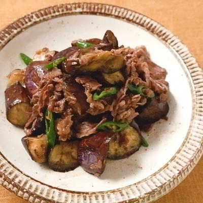 ピリ辛 ナスと牛肉のガリバタ炒め