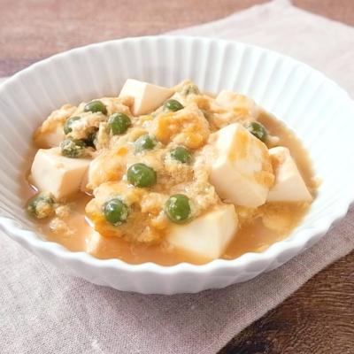 めんつゆで簡単 グリンピースと豆腐の卵とじ